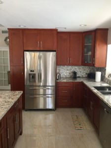 All Wood Kitchen Cabinet Installation - Refrigerator View - Universal Cabinets and Closets